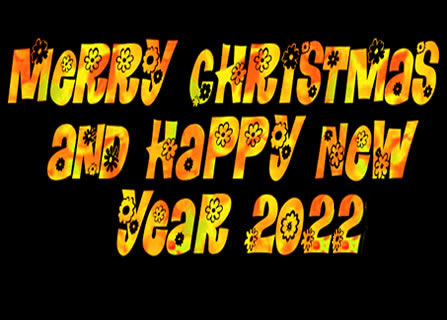 Image with black background and text created with colorful floral pattern with Merry Christmas and Happy 2022 text