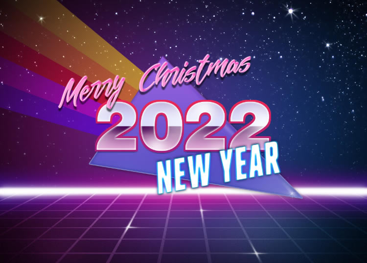 Modern style image with Merry Christmas and Happy New Year 2022 text.